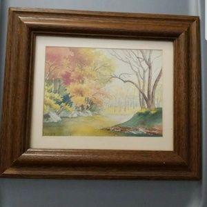 """Antique Paul Putzki """"Rock Creek Park"""" Watercolor"""